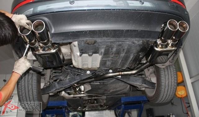 大众cc改装四出排气管.高清图片