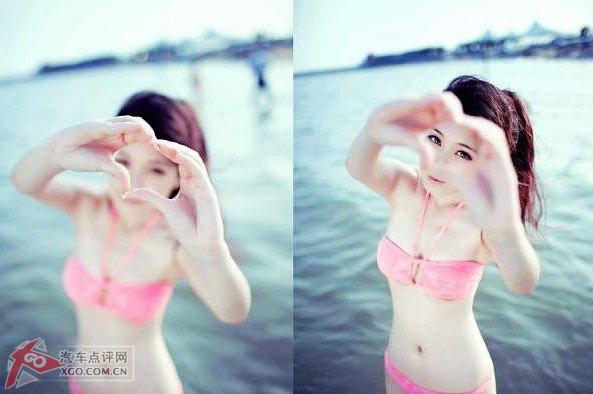 小美女粉色比基尼海边清纯诱人