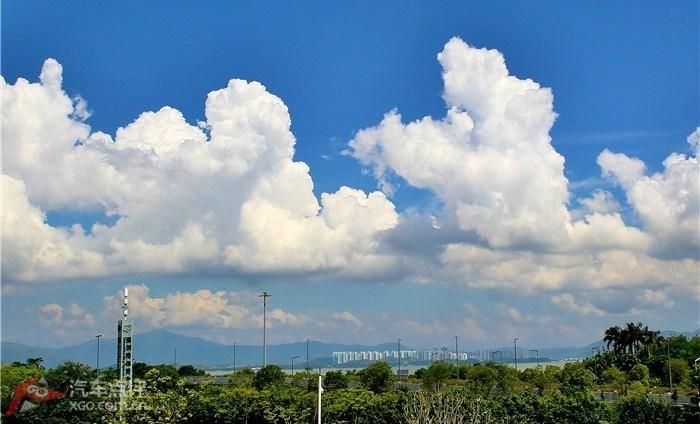 深圳/俯瞰深圳湾体育中心蓝蓝的天上白云飘